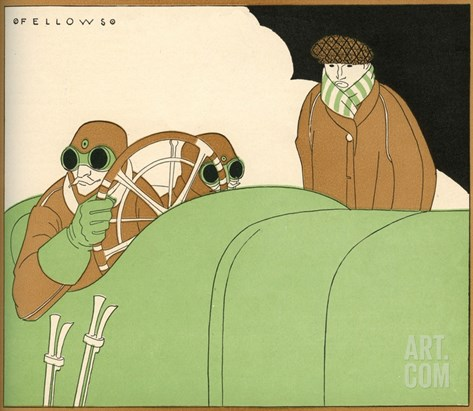 Illustration of Race Car Drivers in a Racecar with Goggles On by L. Fellows Stretched Canvas Print