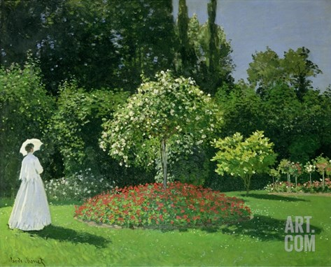 Young Woman in a Garden Stretched Canvas Print