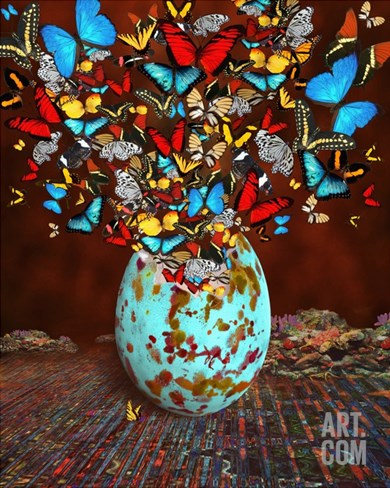 Butterflies Fly Out Through the Crack in the Egg Stretched Canvas Print