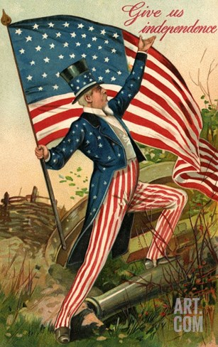 Give Us Independence with Uncle Sam Stretched Canvas Print