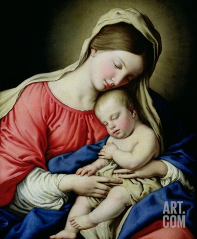 Virgin and Child Stretched Canvas Print