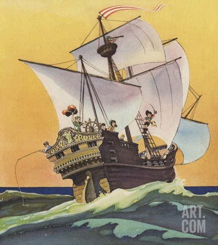 Illustration of Peter Pan and the Darling Children at Sea by Roy Best Stretched Canvas Print