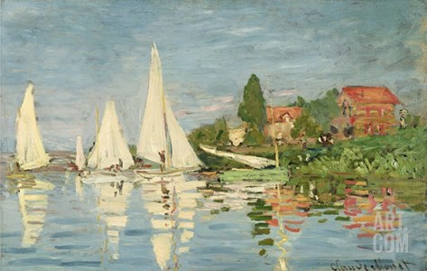 Regatta at Argenteuil Stretched Canvas Print