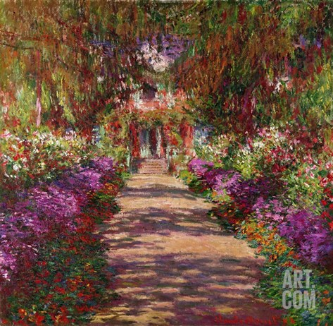 Path in Monet's Garden, Giverny Stretched Canvas Print