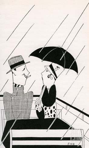 Illustration of Couple on Rainy Roof of Double-Decker Bus by Anne Harriet Fish Stretched Canvas Print