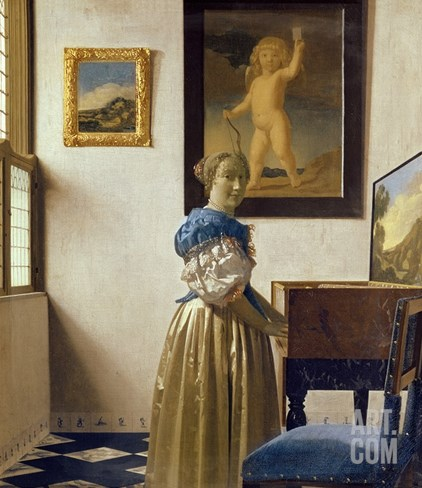 A Young Woman Standing at a Virginal Stretched Canvas Print