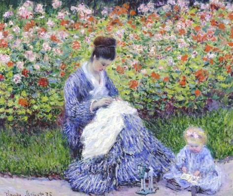 Camille Monet and a Child in the Artist's Garden in Argenteuil?? Stretched Canvas Print