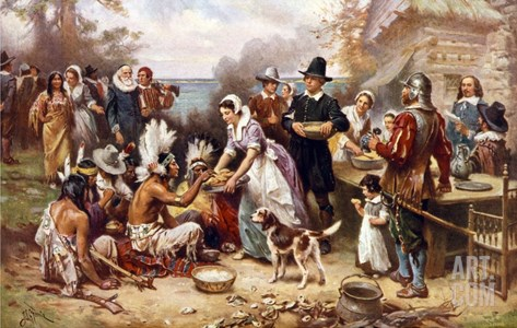 The First Thanksgiving 1621 Stretched Canvas Print