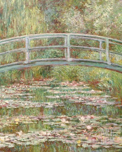 Bridge over a Pond of Water Lilies Stretched Canvas Print