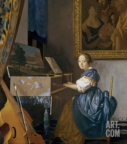 A Young Woman Seated at a Virginal Stretched Canvas Print