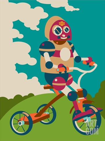 Young robot riding a tricycle Stretched Canvas Print