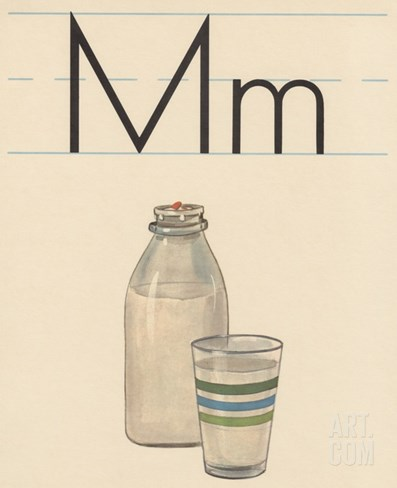 M is for Milk Stretched Canvas Print