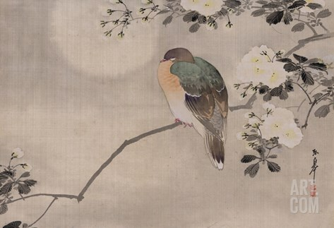 Japanese watercolor of bird perched on a branch of a blossoming tree Stretched Canvas Print