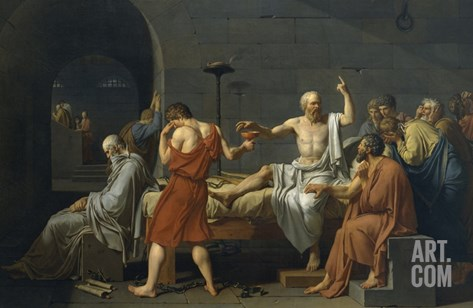 The Death of Socrates Stretched Canvas Print