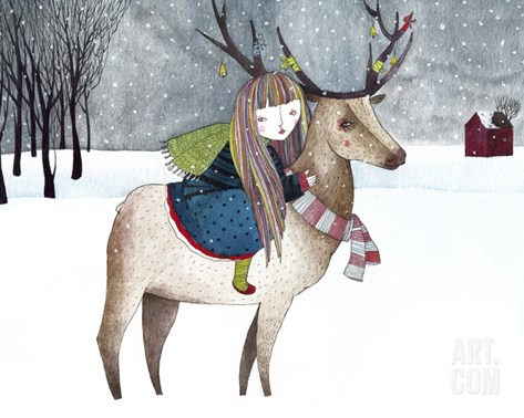 A Girl Riding an Elk with Ornaments on its Antlers in the Snow Scene Stretched Canvas Print