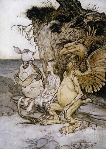 Illustration of Alice Sitting Down Next to Two Creatures by Arthur Rackham Stretched Canvas Print