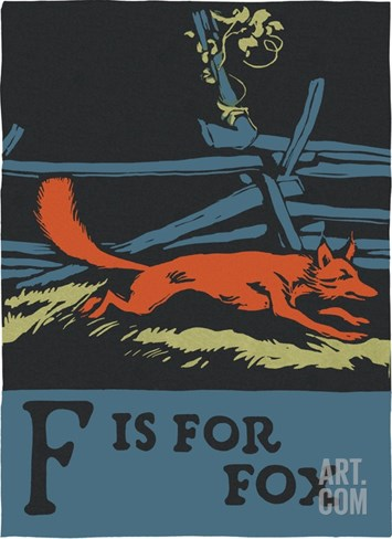 F is for fox Stretched Canvas Print
