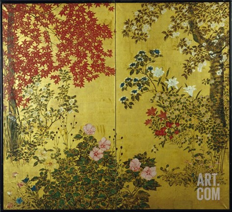 Japanese Screen with Trees and Flowering Plants Stretched Canvas Print