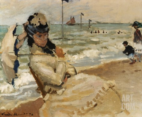 Camille [Monet] on the Beach, Trouville Stretched Canvas Print