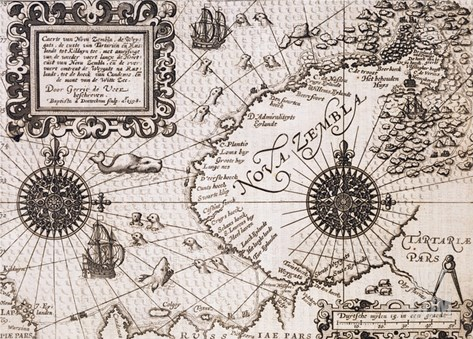 Map of Nova Zembla from Diarium Nauticum, seu vera descriptio trium navigationum admirandarum Stretched Canvas Print