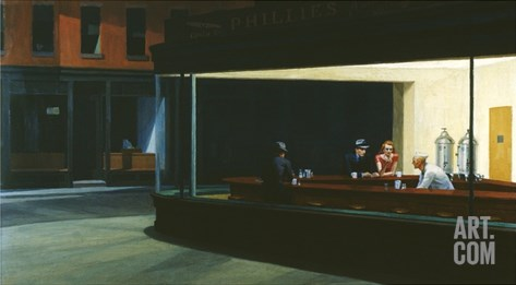Nighthawks Stretched Canvas Print