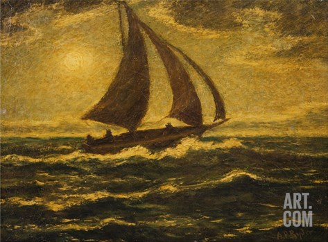 Moonlight Sail by Albert Pinkham Ryder Stretched Canvas Print