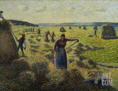 The Hay Harvest, Eragny Stretched Canvas Print