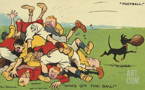 Postcard Cartoon of Rugby Match Stretched Canvas Print