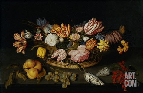 Still Life of Tulips, Roses, Fruit, and Shells by Joannes Busschaert Stretched Canvas Print