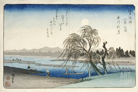 Autumn Moon at Tama River, from the Series Eight Views of the Suburbs of Edo Stretched Canvas Print