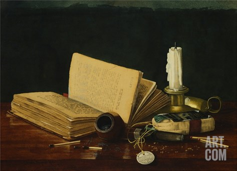 Still Life with Book and Pipe by Claude Raguet Hirst Stretched Canvas Print