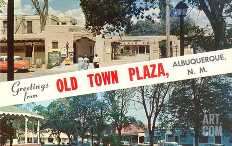 Greetings from Old Town Plaza, Albuquerque, New Mexico Stretched Canvas Print
