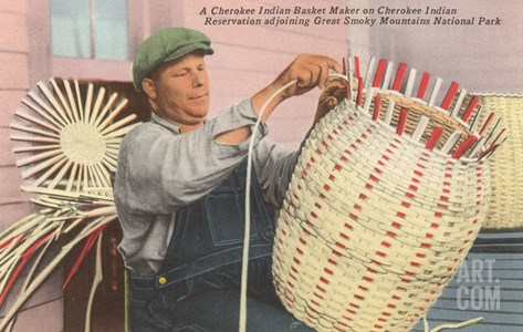 Cherokee Indian Basket Weaver, North Carolina Stretched Canvas Print