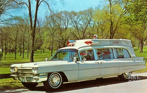 Cadillac Ambulance, Retro Stretched Canvas Print