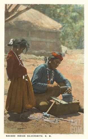 Navajo Silversmith, New Mexico Stretched Canvas Print