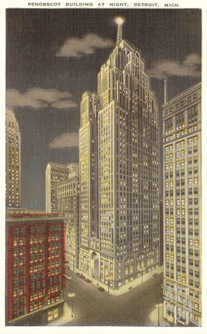 Penobscot Building, Detroit, Michigan Stretched Canvas Print