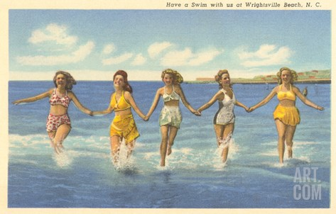 Bathing Beauties, Wrightsville Beach, North Carolina Stretched Canvas Print