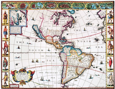 New World Map, 1616 Stretched Canvas Print