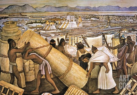 Tenochtitlan (Mexico City) Stretched Canvas Print