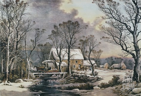 Currier & Ives: Winter Scene Stretched Canvas Print
