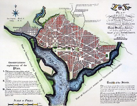 Washington, Dc, Plan, 1792 Stretched Canvas Print