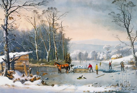 Currier & Ives Winter Scene Stretched Canvas Print