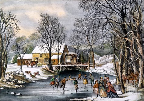 Winter Pastime, 1870 Stretched Canvas Print