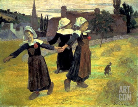 Gauguin: Breton Girls, 1888 Stretched Canvas Print