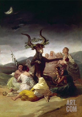 Goya: Witches Sabbath Stretched Canvas Print