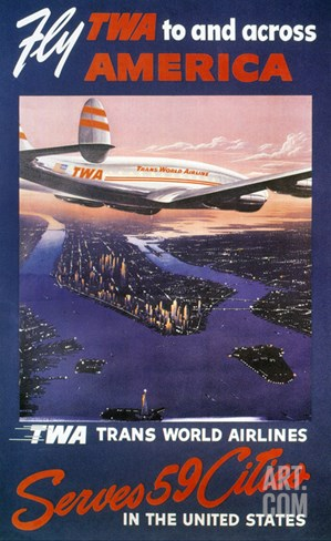 Trans-World Airlines 1950S Stretched Canvas Print