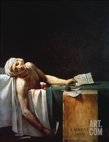 The Death Of Marat Stretched Canvas Print
