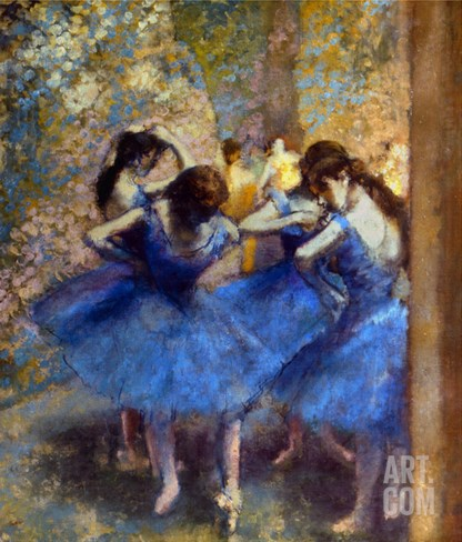Degas: Blue Dancers, C1890 Stretched Canvas Print