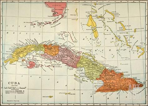 Map: Cuba, 1900 Stretched Canvas Print