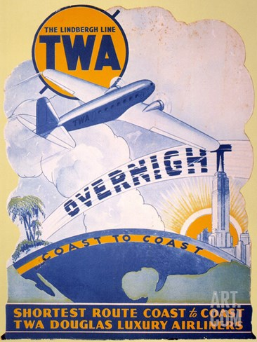 Trans-World Airlines 1934 Stretched Canvas Print